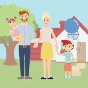 Young happy family outside in front of beautiful new house Stock Illustration