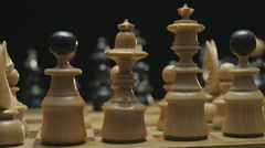 Chess board with classic wood pieces 009 Stock Footage