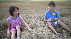 Boy makes a gift flower to a girl, sitting on hay, slow motion Stock Footage