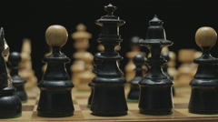 Chess board with classic wood pieces 008 Stock Footage