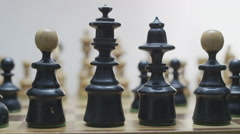 Chess board with classic wood pieces 011 Stock Footage