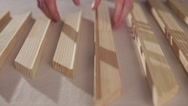Wooden slats on the table Stock Footage