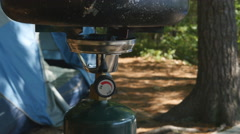 Detail of burner on propane camp stove. Ontario, Canada. Stock Footage
