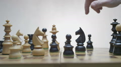 Chess board with classic wood pieces 019 Stock Footage