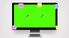 Monitor with Green Screen and notes 4K Stock Footage