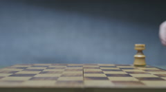 Chess board with classic wood pieces 023 Stock Footage