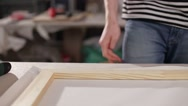 Canvas tension wooden frame Stock Footage