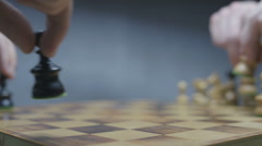 Chess board with classic wood pieces 026 Stock Footage