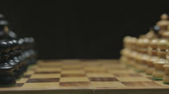 Chess board with classic wood pieces 001 Stock Footage