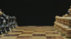 Chess board with classic wood pieces 004 Stock Footage