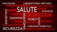 Health technology word tag cloud - red, Italian variant Stock Footage