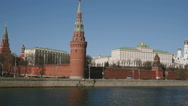 Kremlin churches and towers view from the left bank Moscow river, Russia, Europe Stock Footage