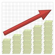 Growth of Dollars. American Banknotes. Cash Money. Stock Illustration