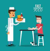 Man waiter and fast food design Stock Illustration