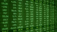 Stock Market - Financial  Numbers - Digital Led - Screen - dark green -Left Stock Footage