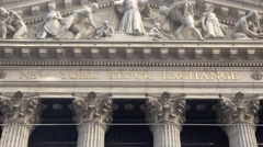 The front facade (4k) of the New York Stock Exchange on Broad Street, New York. Stock Footage