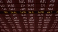 Stock Market - Financial  Numbers - Digital Led - Screen - dark red - Above Stock Footage