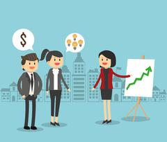 Businesspeople cartoon and solution design Stock Illustration
