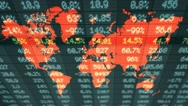 Stock Market - Financial  Numbers - Digital Led - World Map - blue - Above Stock Footage