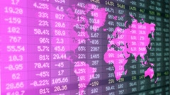 Stock Market - Financial  Numbers - Digital Led - World Map - blue -Left Stock Footage