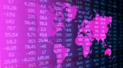 Stock Market - Financial  Numbers - Digital Led - World Map - dark blue -Left Stock Footage
