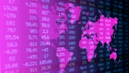Stock Market - Financial  Numbers - Digital Led - World Map - dark blue -Left Stock Footage