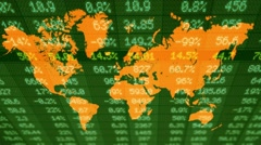 Stock Market - Financial  Numbers - Digital Led - World Map - dark green - Ab Stock Footage