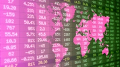 Stock Market - Financial  Numbers - Digital Led - World Map - dark green -Lef Stock Footage