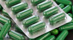 Group green medical pills, rotation, close up Stock Footage