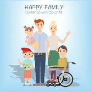 Portrait of four member happy family posing together Stock Illustration