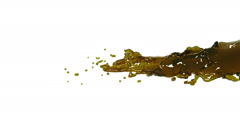 Oil. yellow fluid stream on white background. Stock Footage