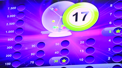 Drawing of numbers on the screen of electronic bingo Stock Footage