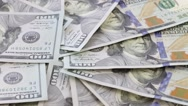 Rotation and falling paper money, american hundred dollar bills close  up Stock Footage