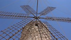 Traditional old windmill on mediterranean island Stock Footage