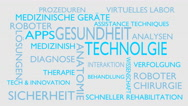 Health technology word tag cloud - white, German variant Stock Footage