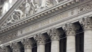 Zoom out from the front facade (4k) of the New York Stock Exchange, New York. Stock Footage