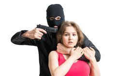 Hostage of terrorist or burglar threatening with gun. Isolated on white backg Kuvituskuvat