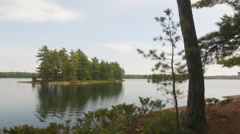 Island in Clear Lake, Massassauga Provincial Park, Ontario, Canada. Stock Footage