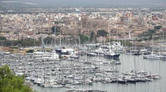 Top aerial view panorama landscape of Palma de Mallorca island harbor Stock Footage