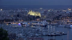 Top aerial view panorama landscape of Palma de Mallorca by night Stock Footage