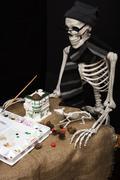 Artistic Halloween Skeleton Painting Statuary Stock Photos
