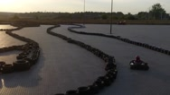 Karting track on the sunset by quadrocopter slow motion Stock Footage