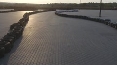 Karting track on the sunset by quadrocopter Stock Footage