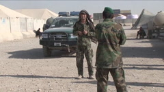 Afghan police check a suspicious vehicle. Stock Footage