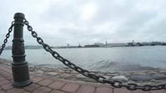 Chain fence on embankment of the Neva Stock Footage