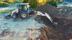 Terex Excavator Working at Building Site Stock Footage