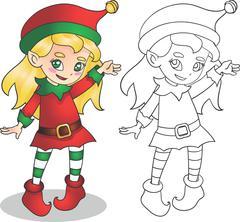 Christmas elf girl character vector illustration, outline Piirros