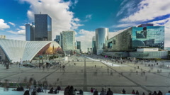 Timelapse Parvis La Defense Paris France with crowds of people Stock Footage