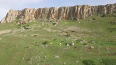 Mt Arbel - Cliff overview (Israel aerial footage) Stock Footage
