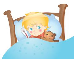 Sick boy lying in bed vector Stock Illustration